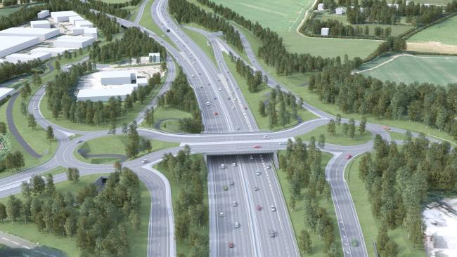 The proposed changes to Junction 9 of the M3 at Winnall