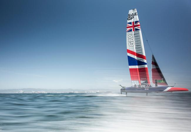 Team GBR skippered by Dylan Fletcher at the SailGP event in San Francisco. Photo: Lloyd Images