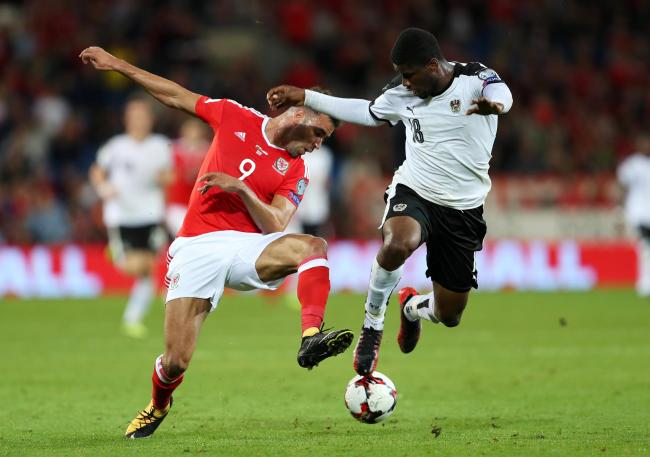 Kevin Danso, right, in action for Austria