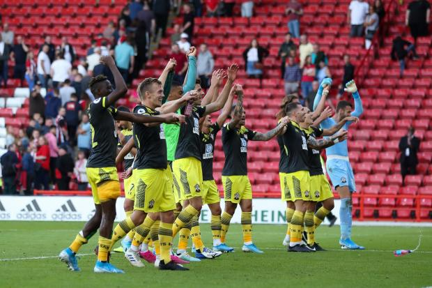Daily Echo: Saints celebrate their win at Bramall Lane