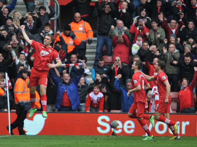 Rickie Lambert celebrates his winning goal against Chelsea at St Mary's in 2013