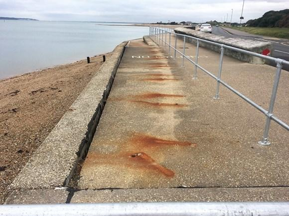 Part of a footpath at Stokes Bay, Gosport, has been closed.
