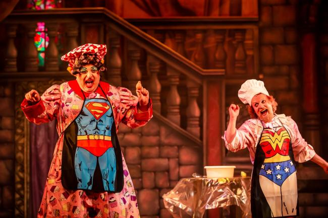 Julian Eardley and Ed Thorpe in last year's Beauty and the Beast. Photo: The Other Richard