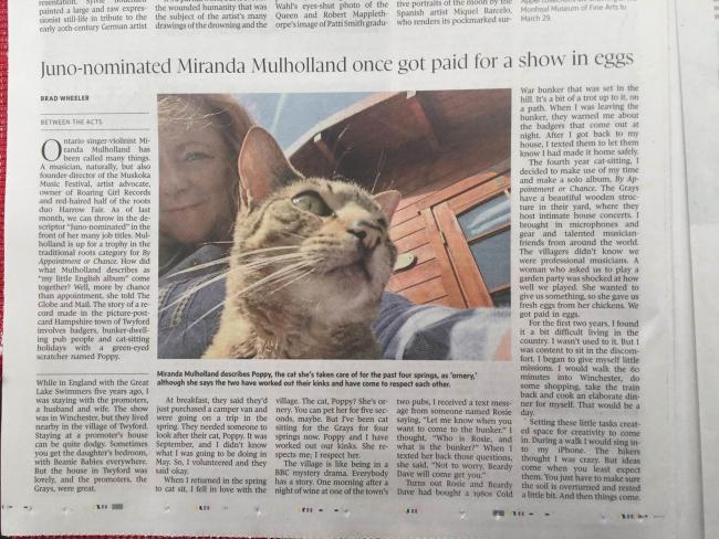 Miranda Mulholland in the Globe and Mail
