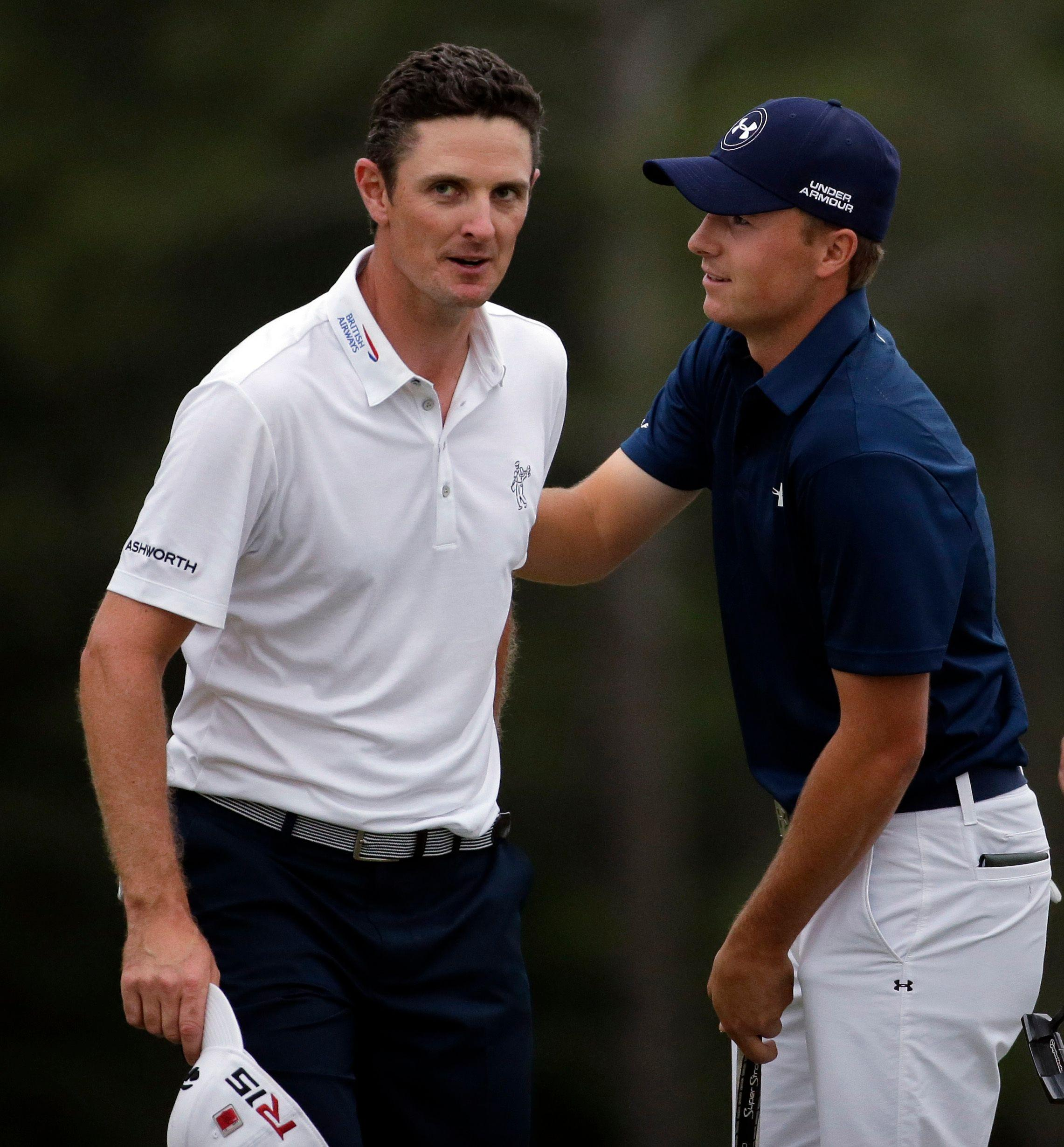 Jordan Spieth, right, and Justin Rose