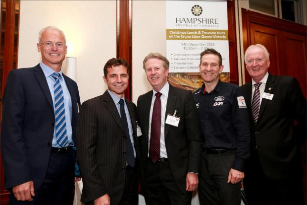 Hampshire Chamber of Commerce hosted a Boatshow lunch at the Grand Harbour Hotel in Southampton. Pictured with guest speaker Andy Hindley (2nd right) are sponsors David Bayley of Condor Office Solutions and Paul Duckworth of Smith Williamson, Stewart Dunn