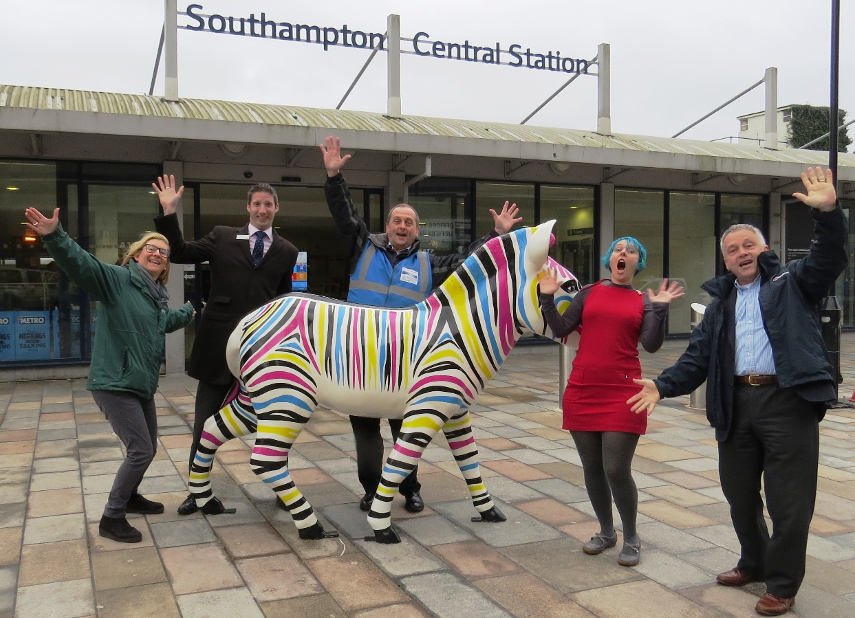 Richard Kempton from South West Trains, Mark Miller, Veronika Moore and Nick Farthing from Three Rivers and East Hampshire Community Rail Partnerships with Kirstie Mathieson, project panager for Marwell's Zany Zebras