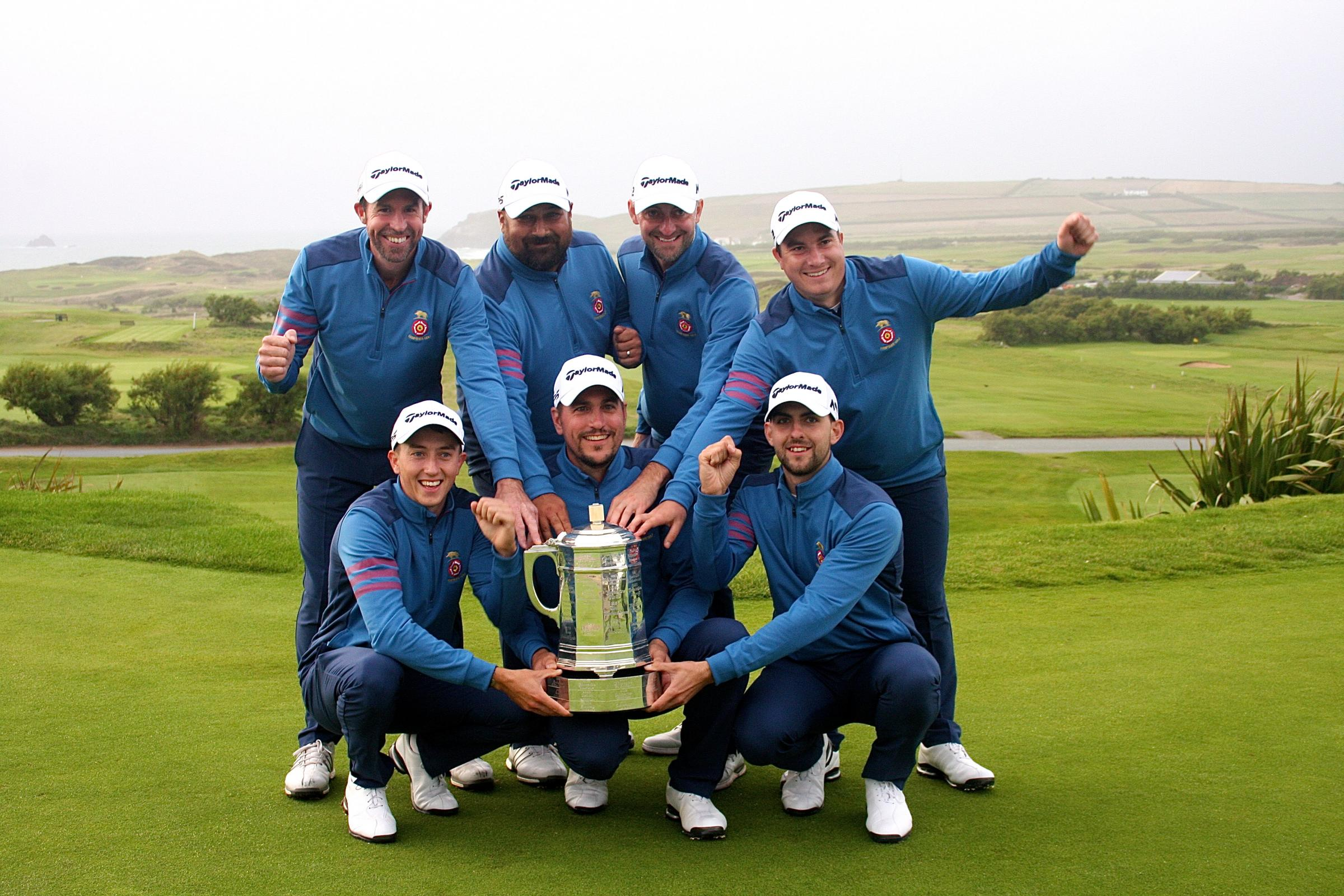 Hampshire's winning team (back l-r): Matt Wilcox, Colin Roope, Mark Burgess and Tom Robson. Front row: Billy McKenzie, Martin Young and Ryan Harmer. (Leaderboard Photography)