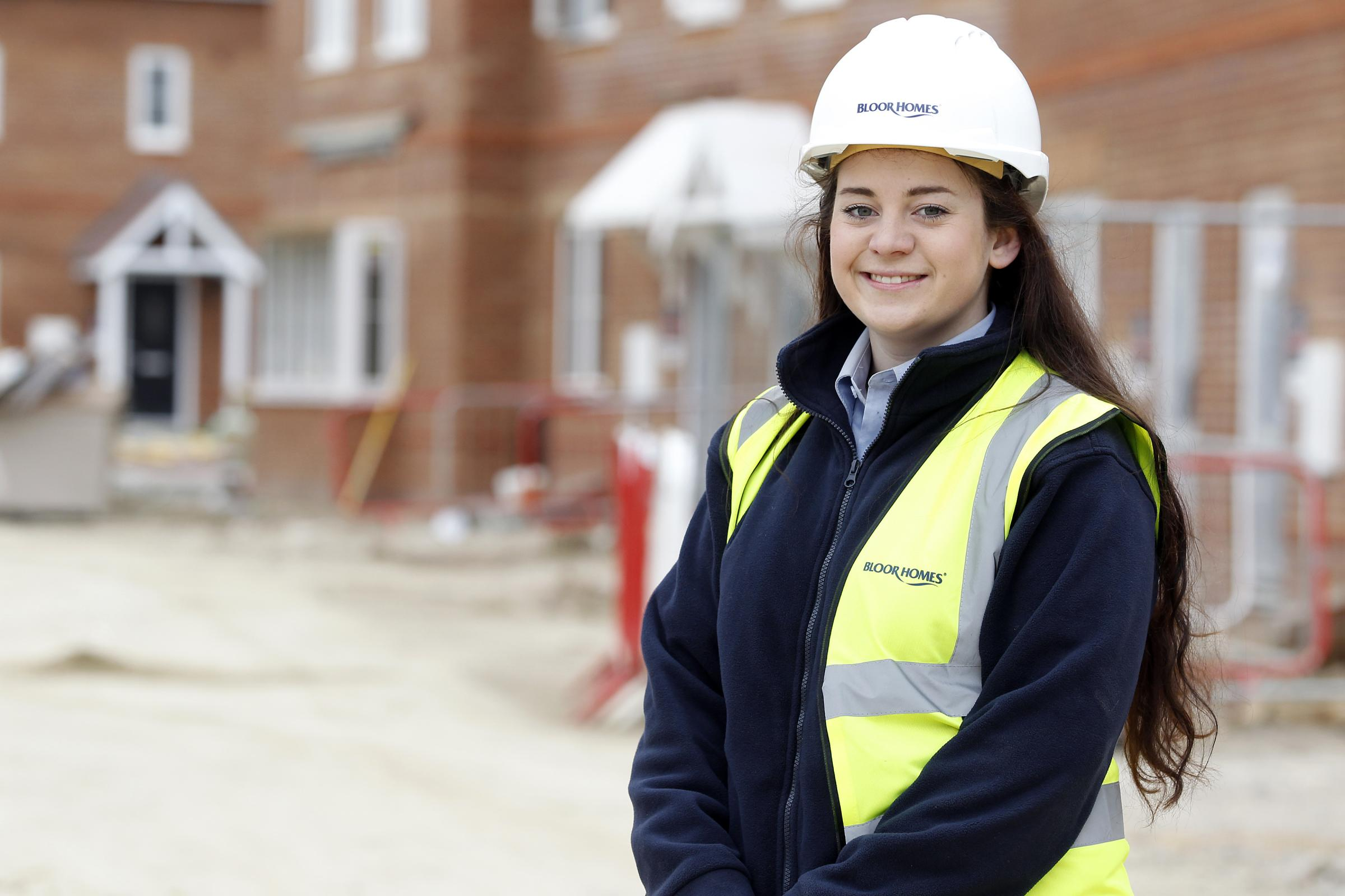 Samantha Lees Bloor Homes Trainee Site Manager at Laurel Grove development in Fareham, Hampshire.