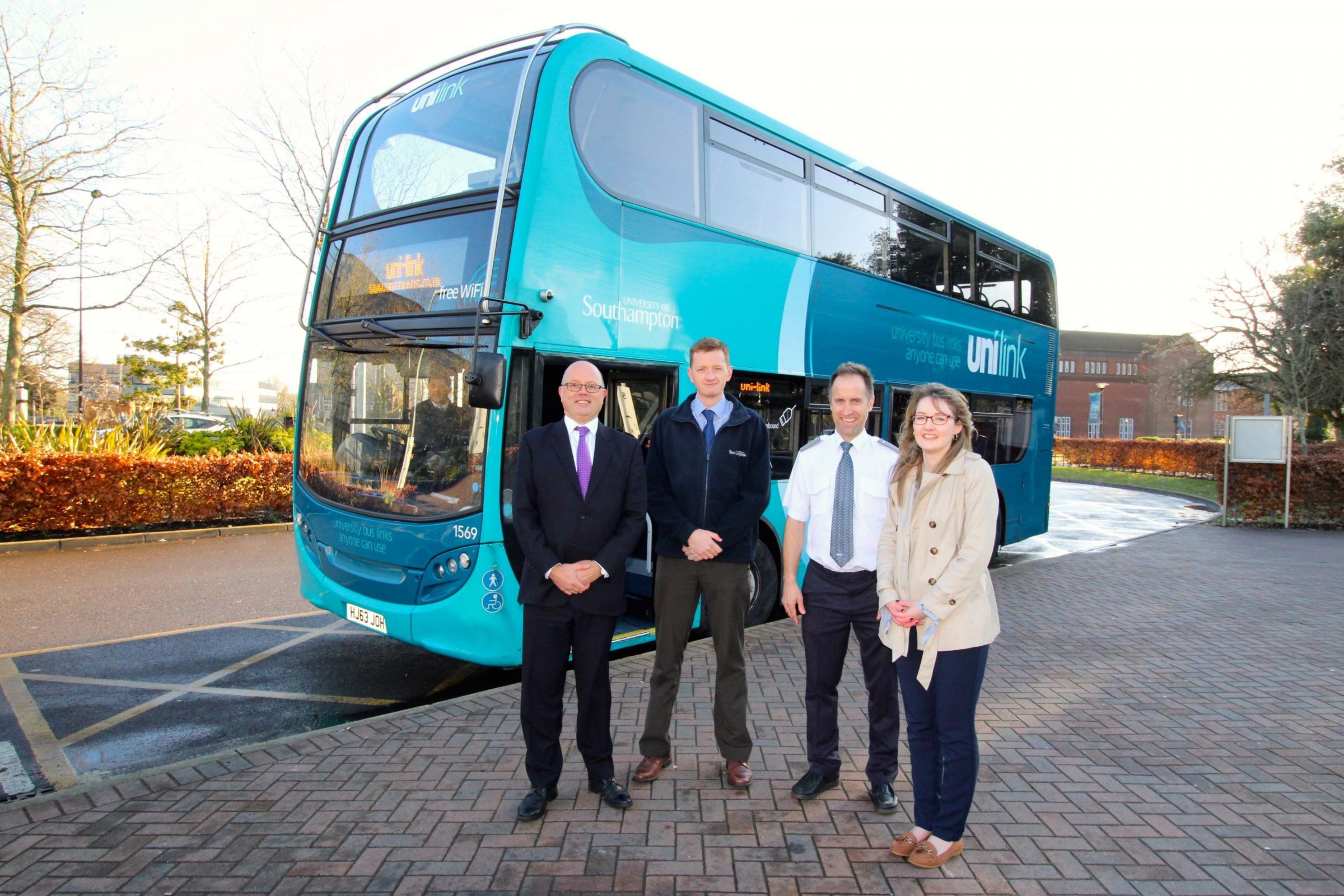 Pictured (L to R): Bluestar and Unilink managing director Andrew Wickham, University of Southampton transport manager Adam Tewkesbury, Unilink driver Mark Cottrell and Unilink operations manager Kerrie Grant.