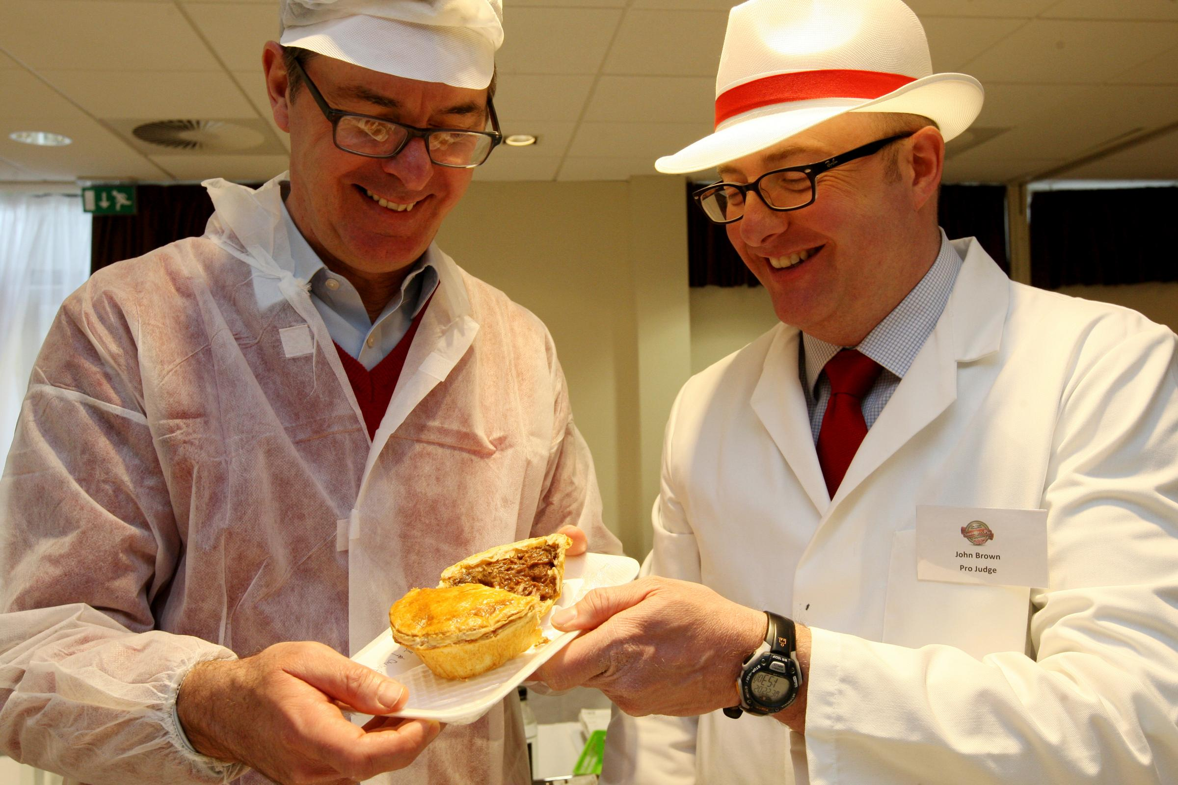 Simon O'Neill, left, and Richard Brown of South England Pastries. The Great Hampshire Sausage and Pie Competition, Holiday Inn, Morn Hill, Winchester.           Picture: Chris Moorhouse       Wednesday 22nd February 2017.