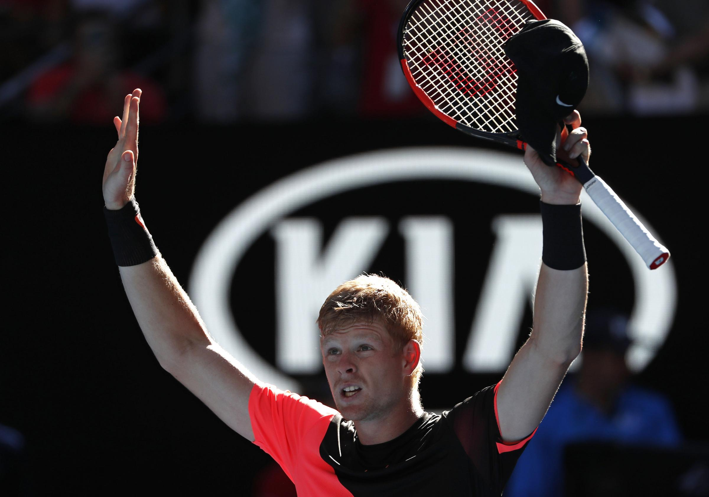 Kyle Edmund celebrates his win against Grigor Dimitrov
