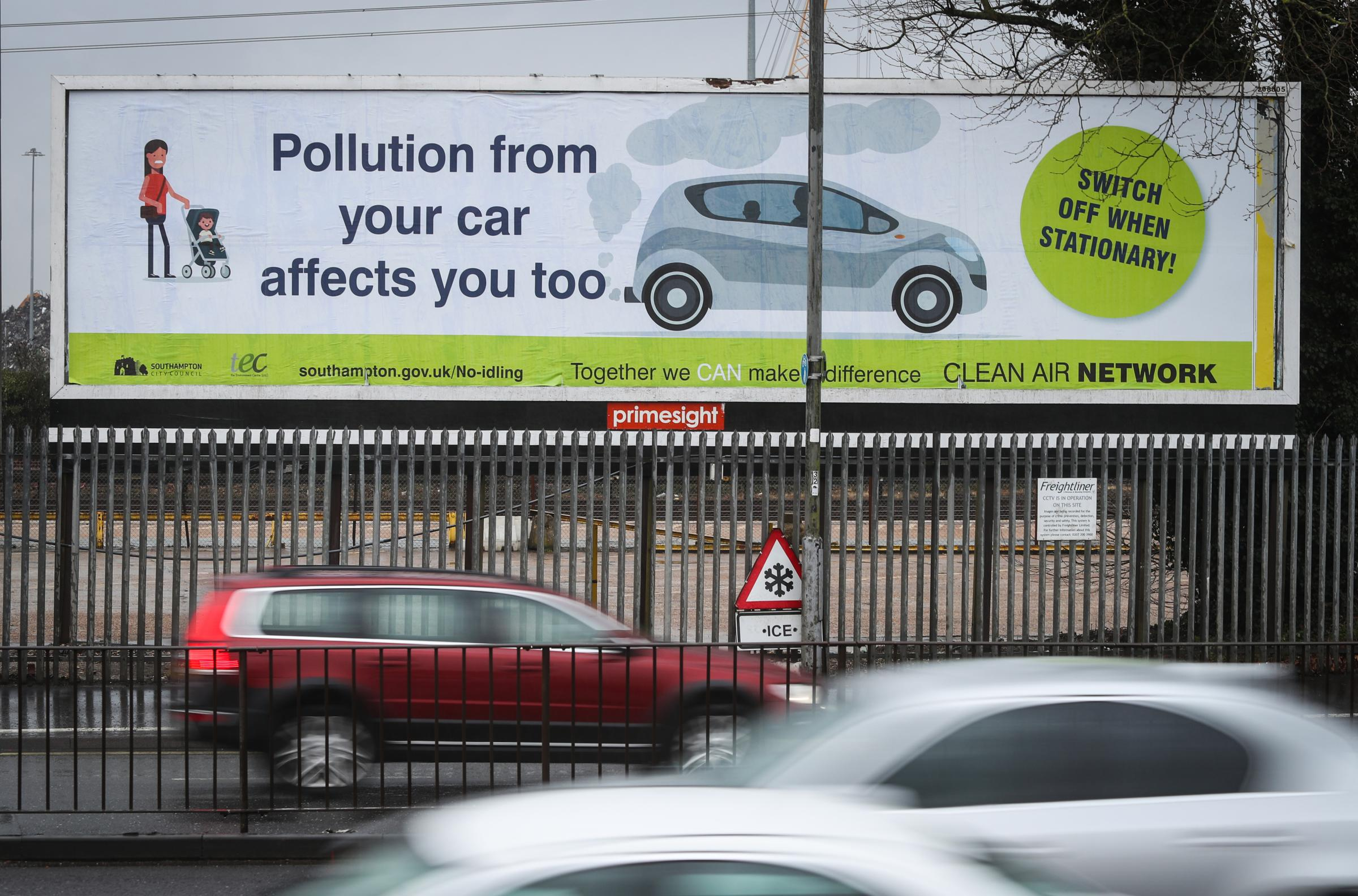 Southampton City Council Pollution poster on Millbrook Road Southampton.
