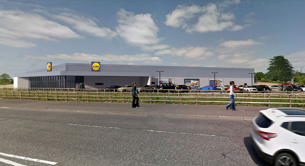 CGI of the proposed Lidl store in Brownhill Way