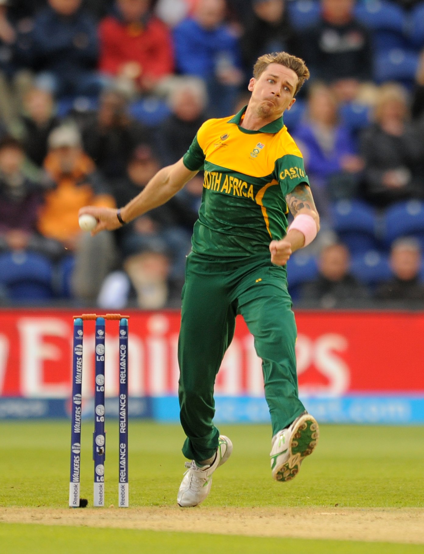 South Africa's Dale Steyn bowls during the ICC Champions Trophy match at The SWALEC Stadium Cardiff..