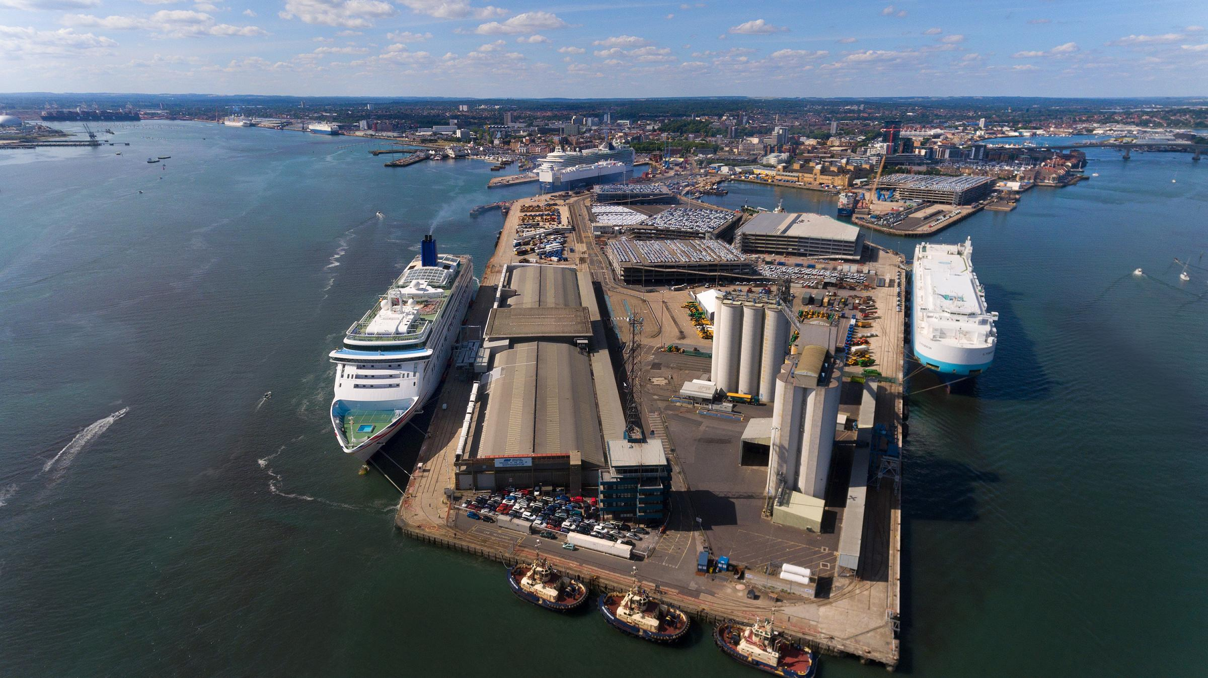 Aerial view of Southampton docks