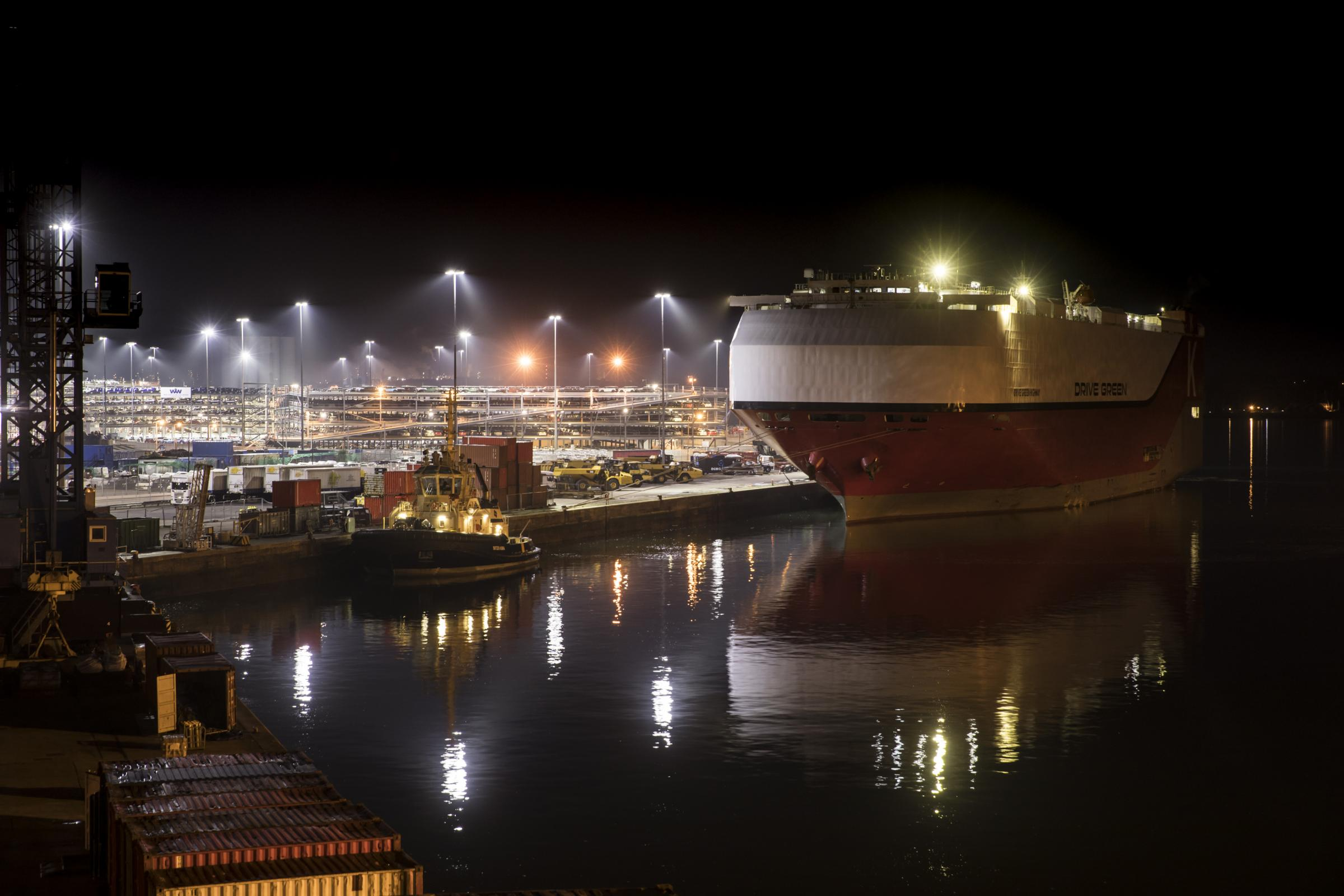 High mast lighting at the port of Southampton