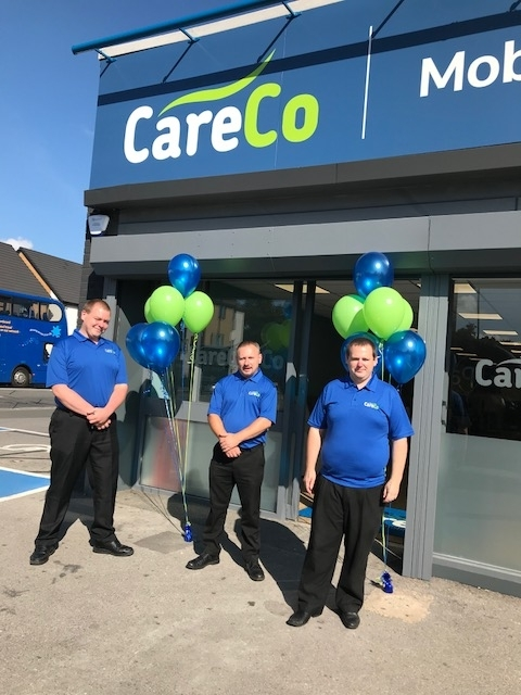 Staff at the new Careco store on Maybush Corner, Marcus Hart, David Ross and Adam Mansfield