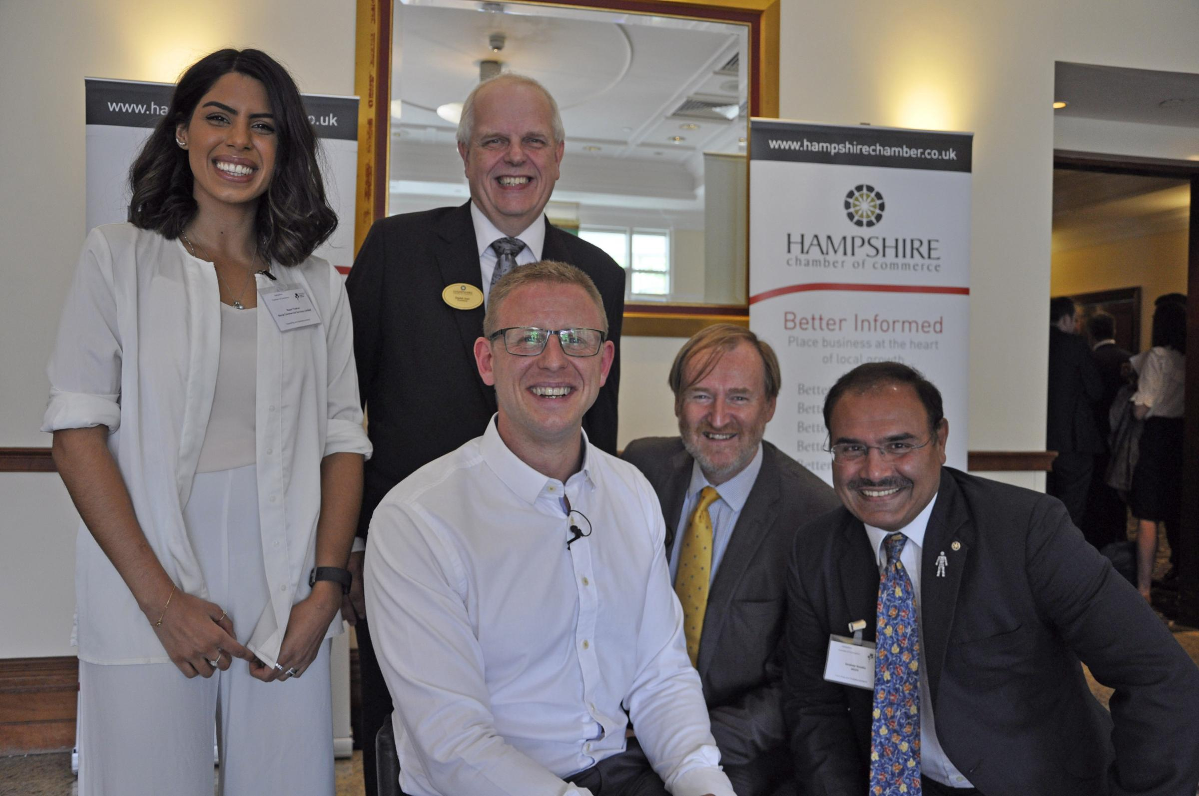 MOTIVATING. Paralympian Aaron Phipps was guest speaker at the Hampshire Chamber Southampton Boat Show lunch. With him at the Grand Harbour Hotel are, from left: Rupal Thakrar from event sponsor Norse South East, Chamber President David Joel, Executive Cha