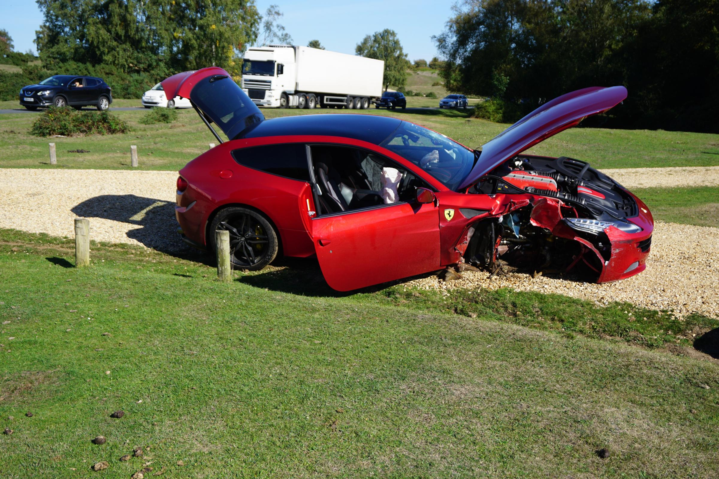 The Ferrari, worth around £200,000, was damaged as well