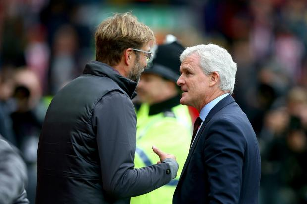 Mark Hughes with Jurgen Klopp