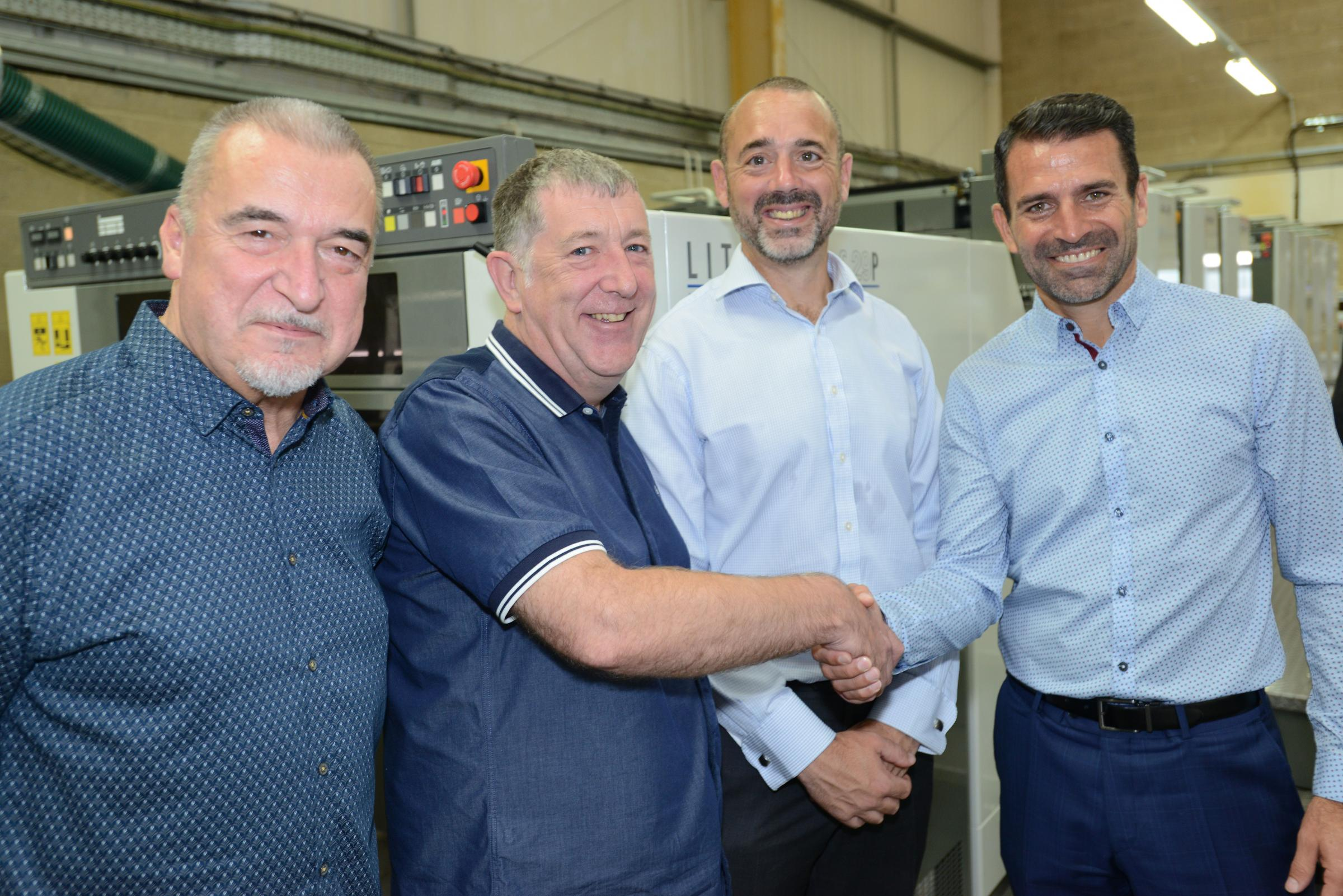 Former Saints star Francis Benali (far right) with the directors of Indigo Press John Ellis, Richard Docherty and Tony Swift at the launch of their new H-UV printing press
