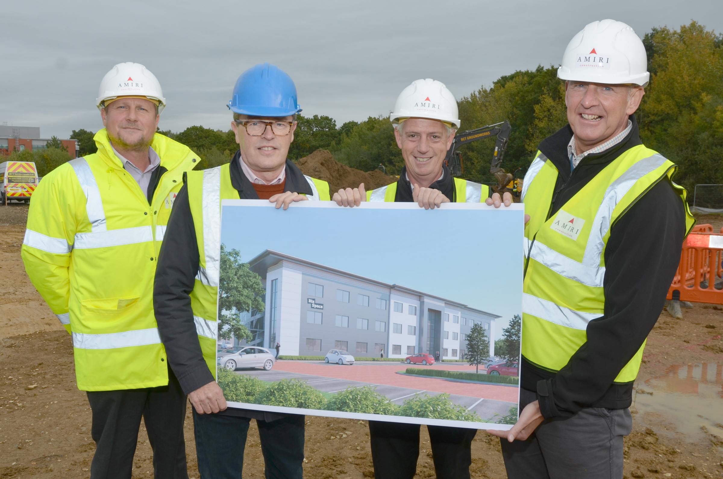 Dave Gee, Nick Smith,  Ian Johnson and  Mark Vincent with CGI of the new Bizspace offices.