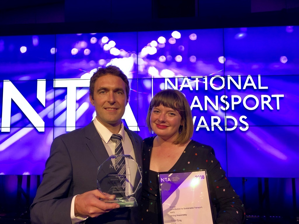 James Deeley, Deputy Head of Environment and Community Affairs, and Holly Edwards, Environment Manager, with NATS' award.