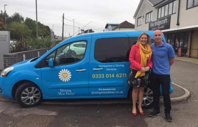 Mims Davies, MP for Eastleigh, pictured with Chris White, Business Development Director for Driving Miss Daisy.