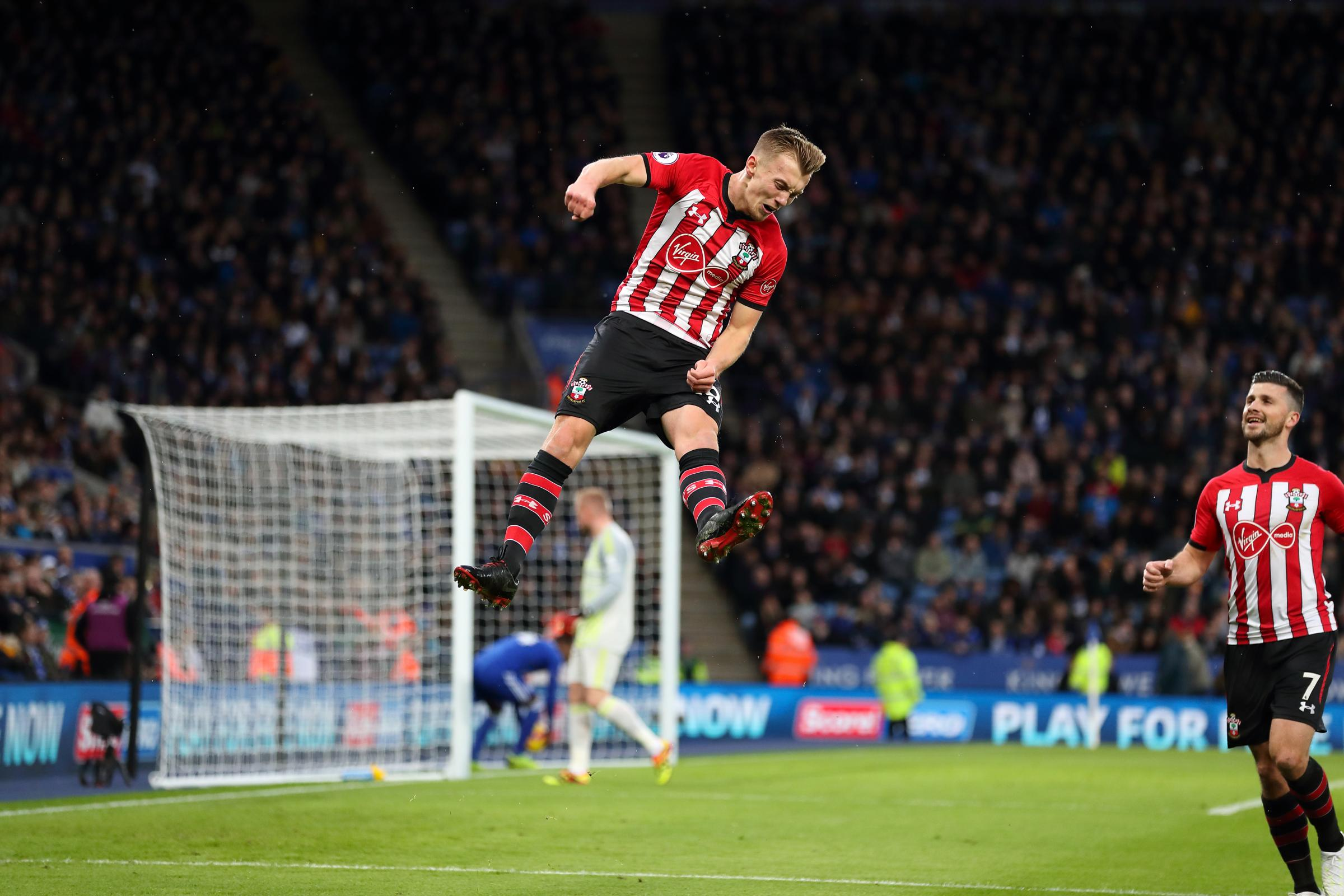 James Ward-Prowse celebrates scoring against Leicester
