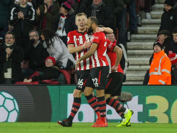 Daily Echo: Ward-Prowse celebrates his recent goal against Everton with Nathan Redmond