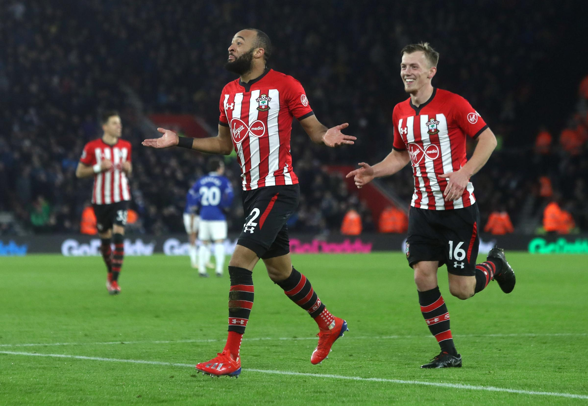 Nathan Redmond and James Ward-Prowse celebrating the second goal against Everton