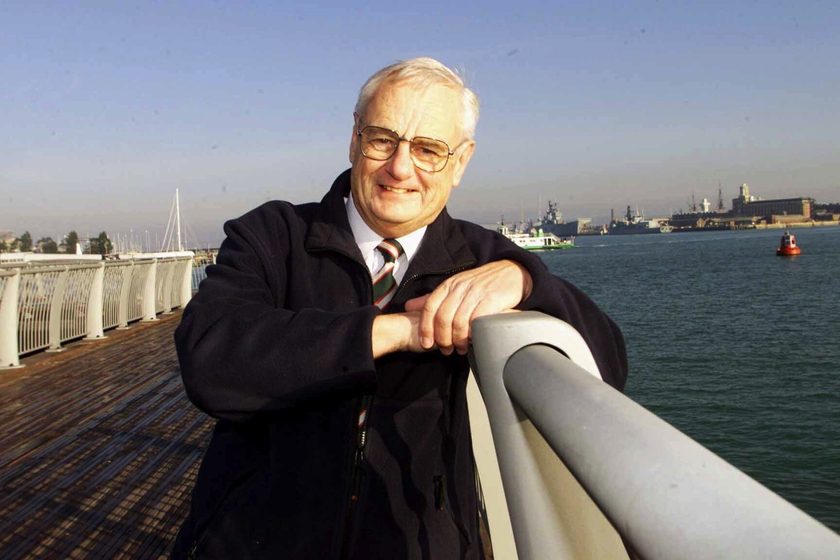 ..........Gosport Council Leader Peter Edgar on newly completed Gosport water front, named the Wave Screen Pier..