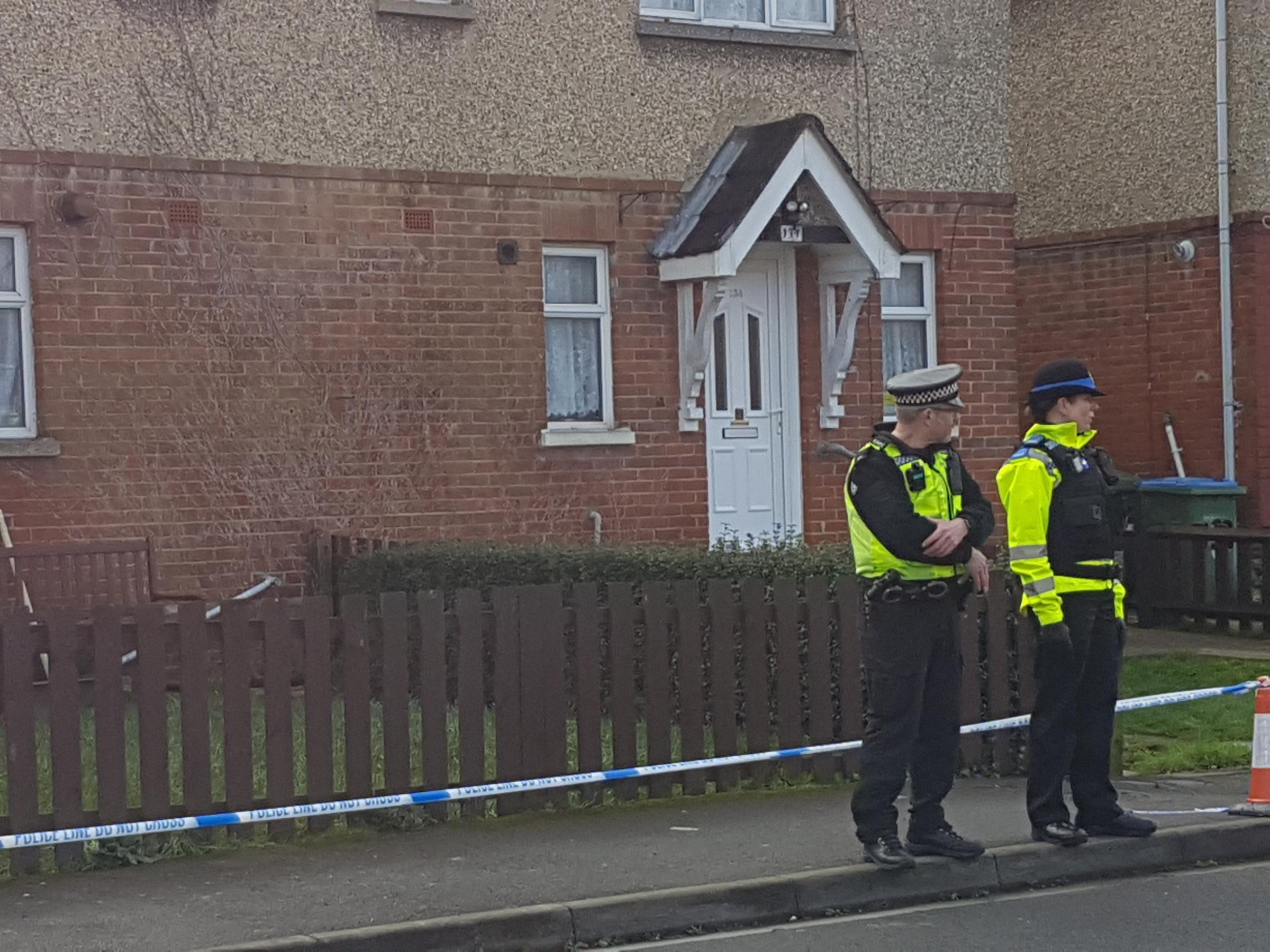 Police at the scene in Bluebell Road, Southampton, where a teenager was shot