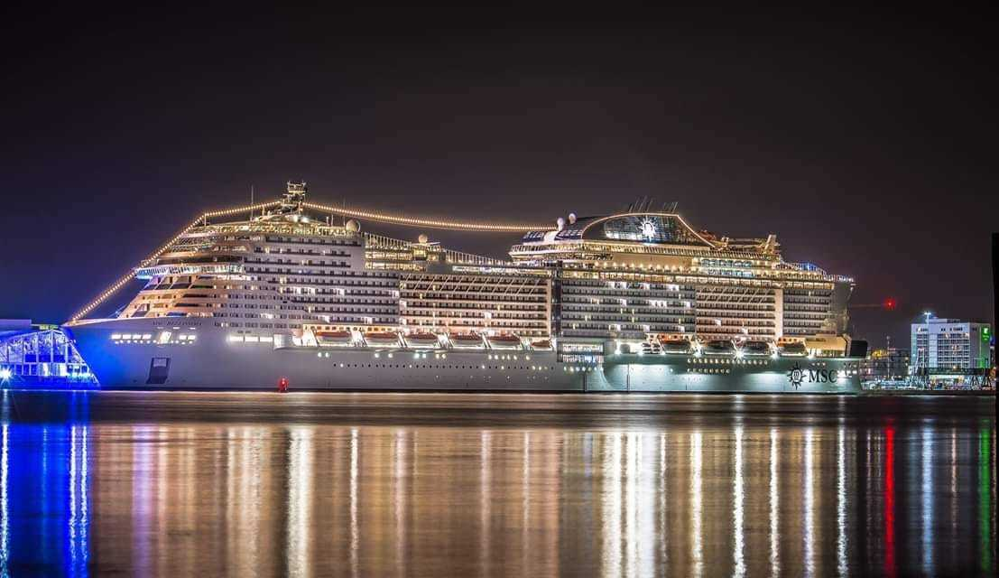 MSC Bellissima lit up on Friday evening, taken by ?Daily Echo Camera Club member Mel Port