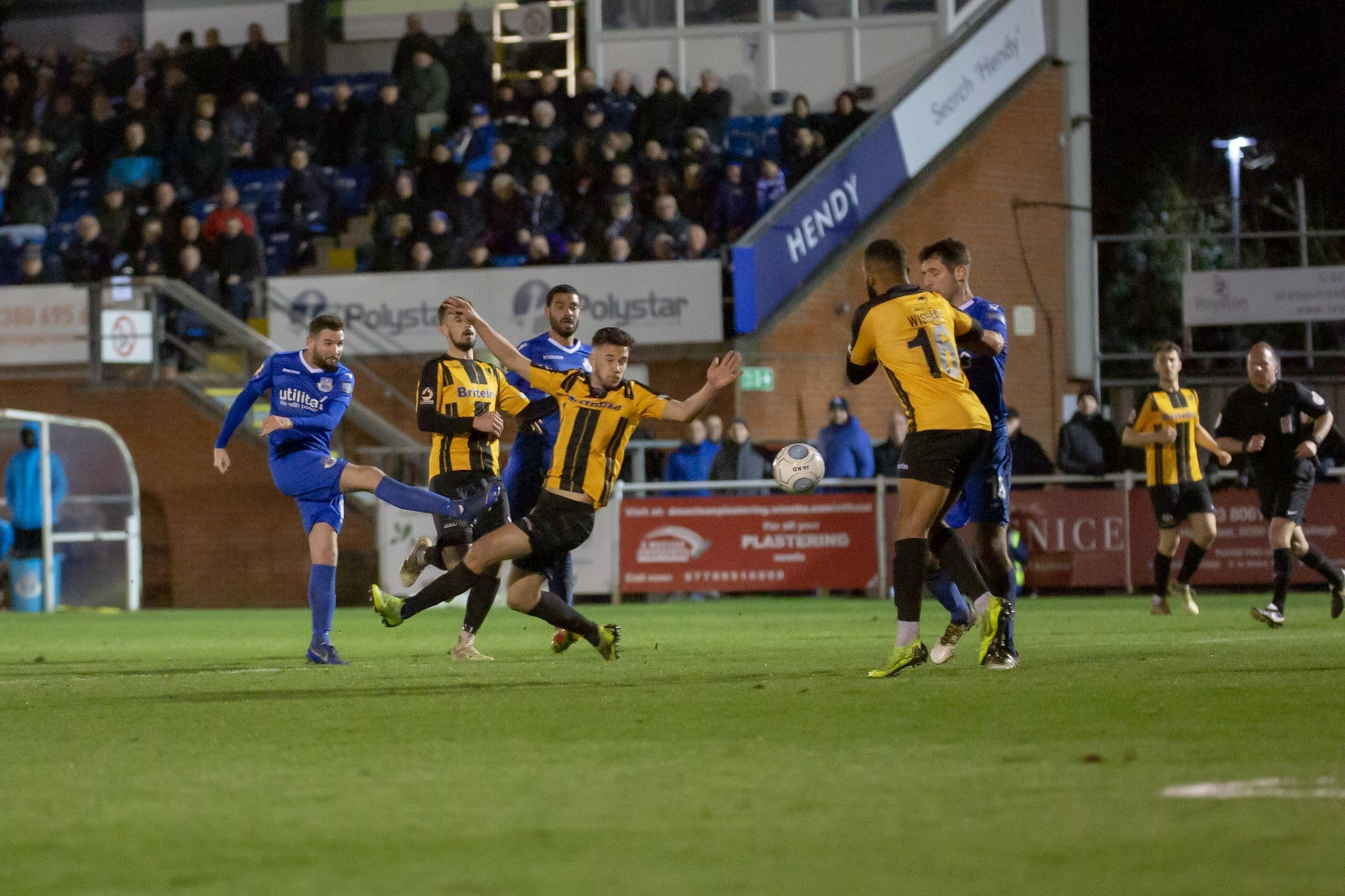 Mark Yeates scores in Eastleigh's 2-0 win over Maidstone (photo: Graham Scambler)