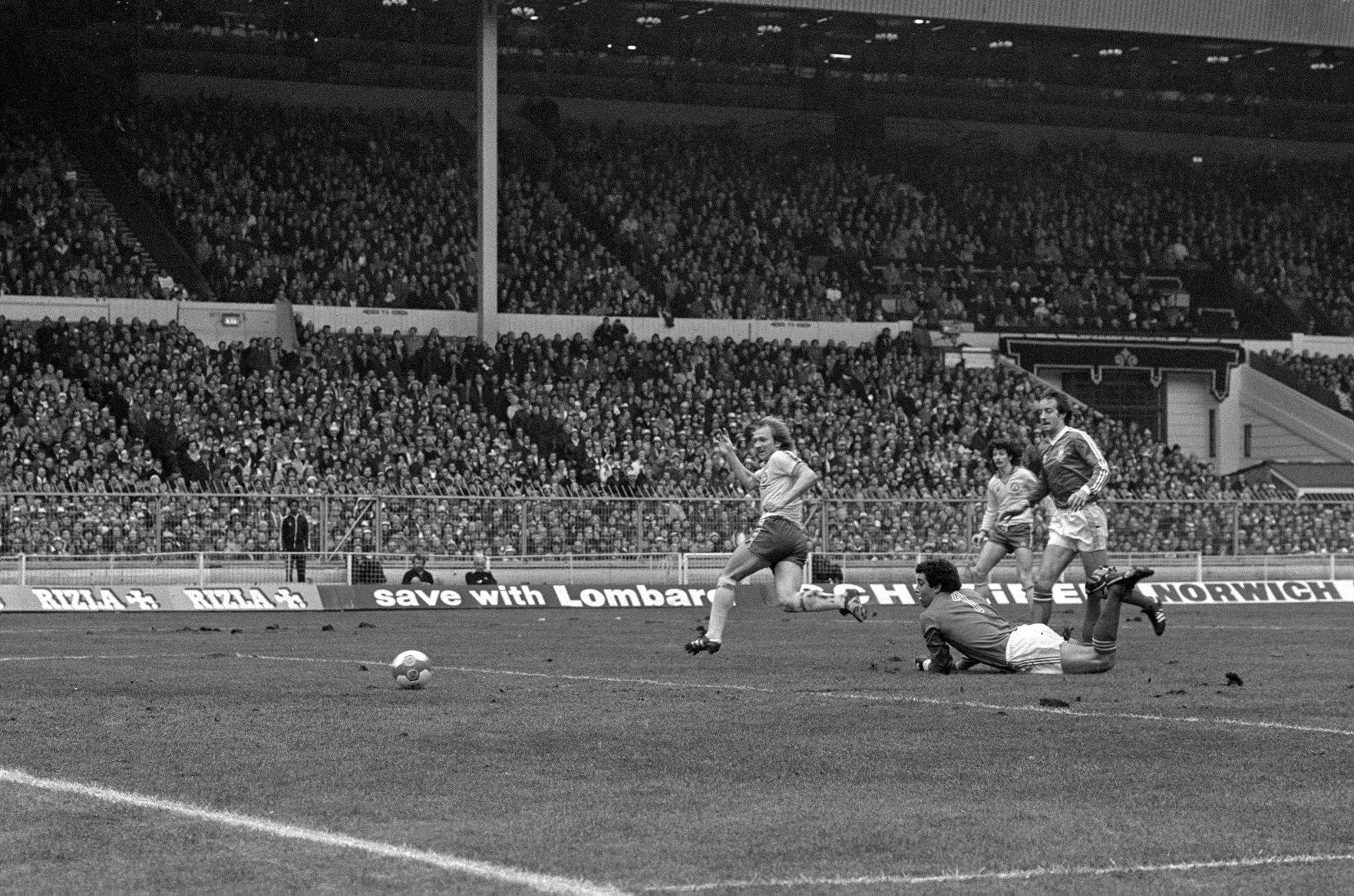 David Peach scores the opening goal in the 1979 League Cup final against Nottingham Forest, who went on to beat Saints 3-2 on this weekend 40 years ago