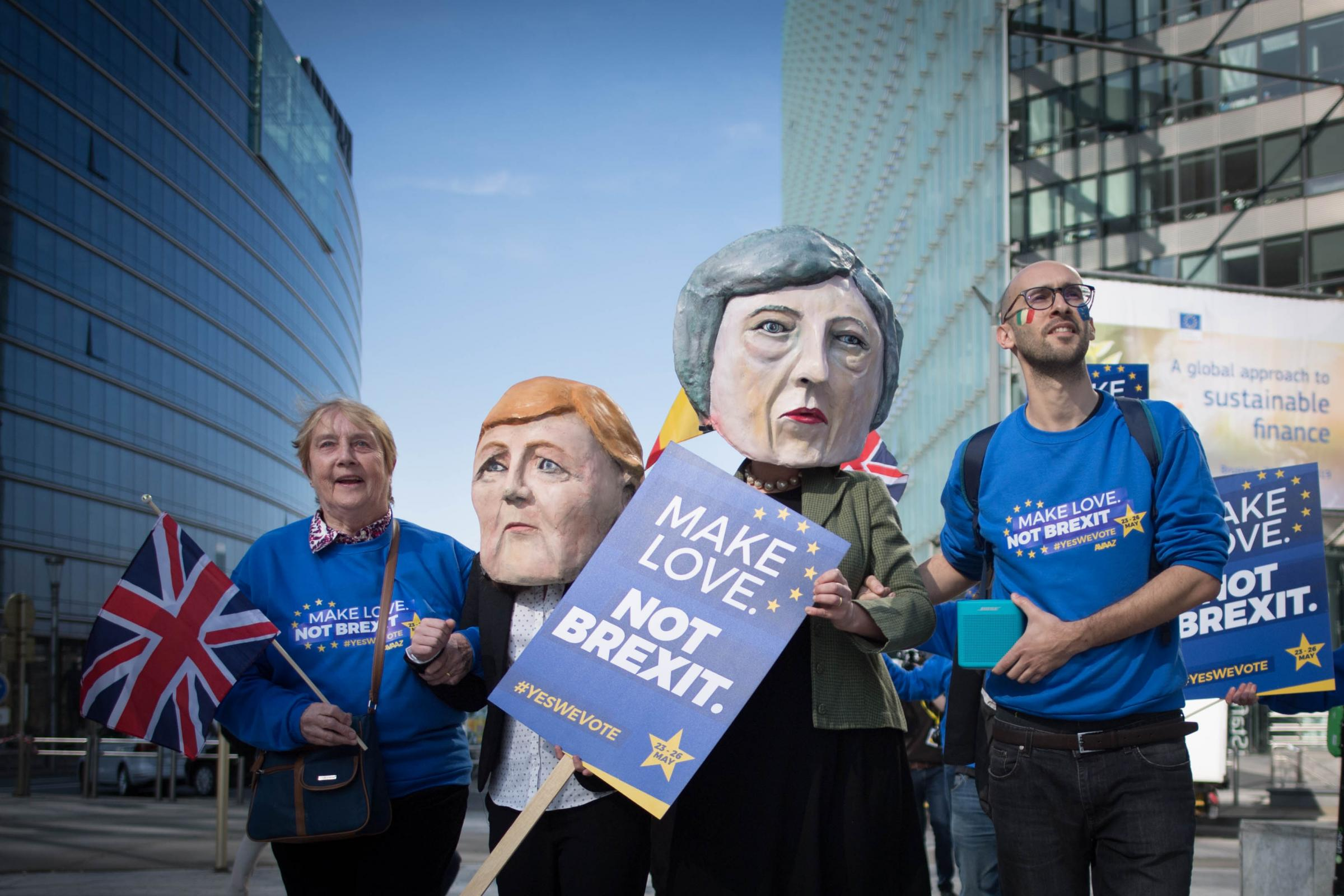 Anti Brexit  protesters dressed as Theresa May and Angela Merkel outside the EU Commission in Brussels ahead of the European Leaders' summit at which Prime Minister Theresa May will be asking for an extension to Brexit. PRESS ASSOCIATION Photo. Pictur