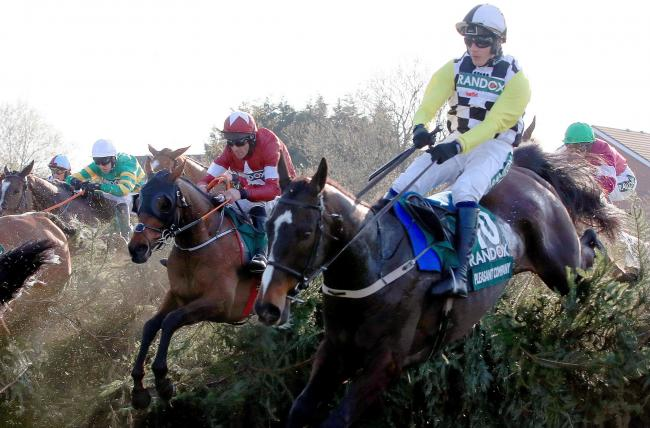 Tiger Roll (left) ridden by jockey Davy Russell jumps Becher's Brook on the way to winning the Grand National last week