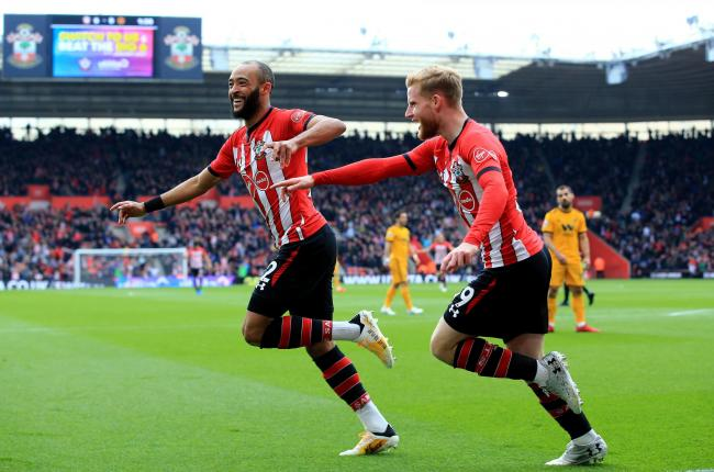 Nathan Redmond celebrates with Josh Sims